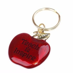 "NEW Red Apple ""Teach & Inspire"" Keychain"